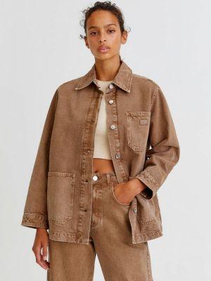 Джинсовая куртка с медведем - коричневая Pull&bear