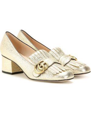 Кожаные туфли лодочки с бахромой Gucci