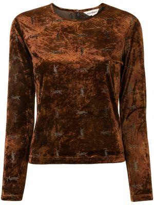 Bluzka z aksamitu - brązowa Yves Saint Laurent Pre-owned