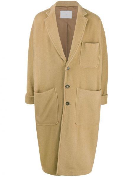 Однобортное длинное пальто с капюшоном на пуговицах Société Anonyme
