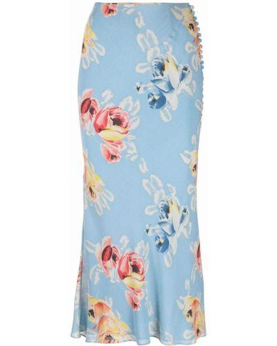 Niebieska spódnica w kwiaty Christian Dior