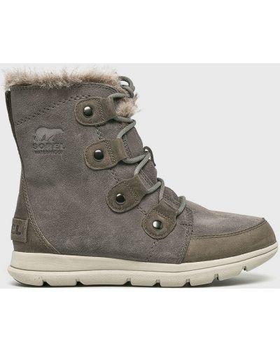Кожаные сапоги зимние на шнуровке Sorel