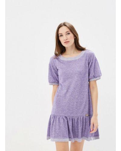 Фиолетовое прямое платье А-силуэта Ricamare