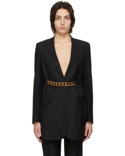 Złota czarna długa kurtka z paskiem Givenchy