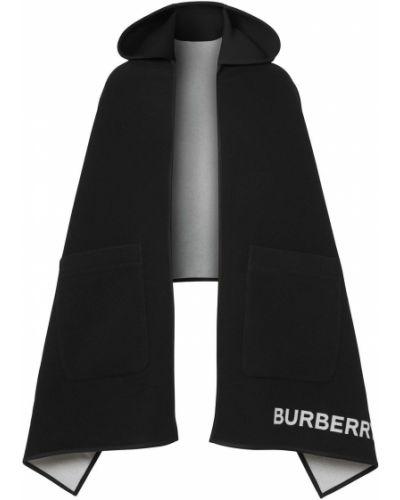 Czarna narzutka z kapturem wełniana Burberry