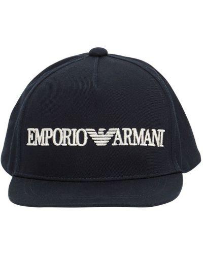 Bawełna z paskiem bawełna kapelusz z haftem Emporio Armani