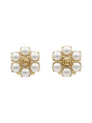 Złote kolczyki sztyfty perły vintage Gucci