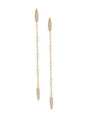 Золотистые желтые серьги с жемчугом с бриллиантом Anissa Kermiche