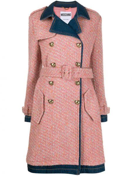 Шерстяное розовое длинное пальто с лацканами с карманами Moschino