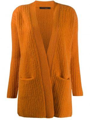 С рукавами кашемировый оранжевый кардиган без застежки Incentive! Cashmere
