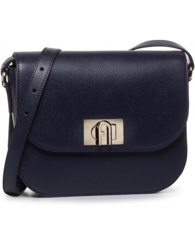 Синяя сумка через плечо из натуральной кожи Furla