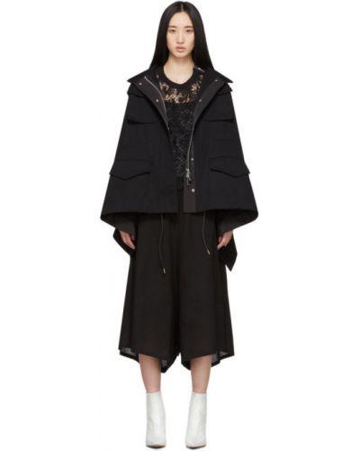 Куртка с капюшоном черная длинная Sacai