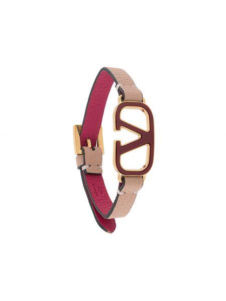 Różowy skórzany bransoletka metal z klamrą Valentino Garavani