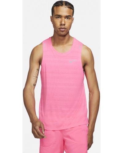 Розовая текстильная майка для бега Nike