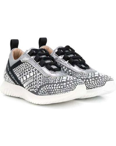 Серебряные кожаные кроссовки на шнуровке Ermanno Scervino Junior