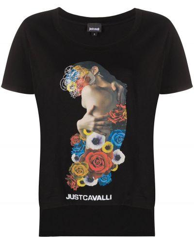 Прямая черная футболка с вырезом Just Cavalli