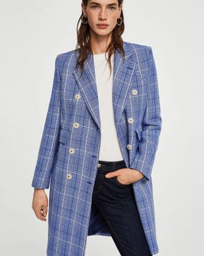 Синее пальто весеннее Mango
