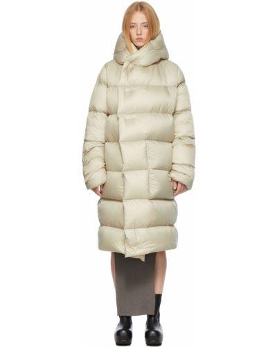 Бежевое нейлоновое пальто Rick Owens