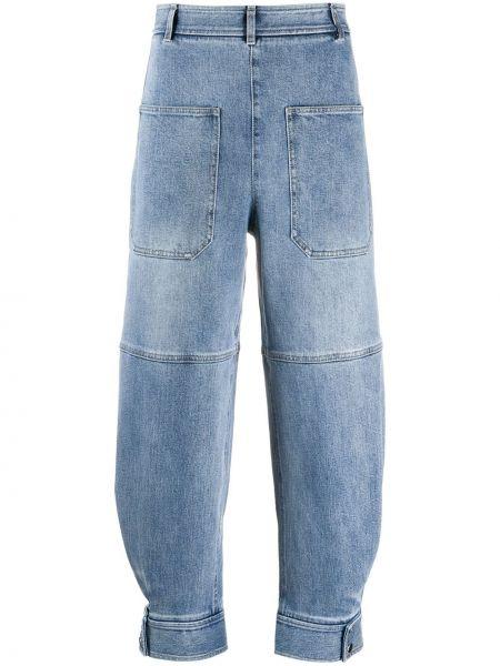 Синие укороченные брюки стрейч с заплатками с манжетами Tibi