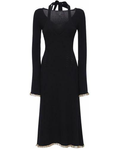 Czarna sukienka midi rozkloszowana z wiskozy Ellery