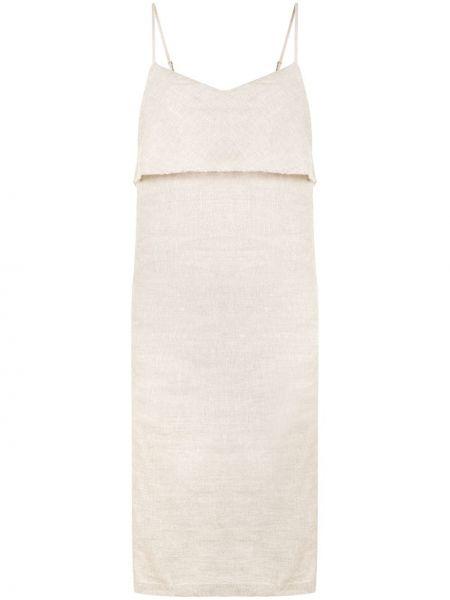 Приталенное драповое платье миди с открытой спиной на бретелях Venroy