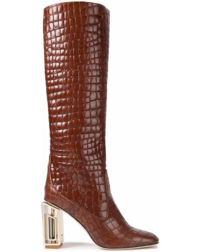 Кожаные сапоги - коричневые Tory Burch
