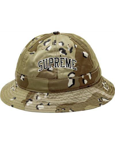 Bawełna bawełna zielony kapelusz z łatami Supreme