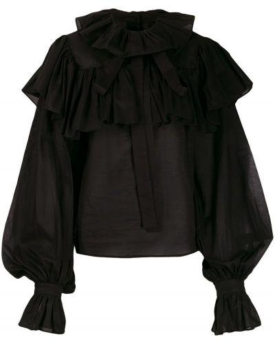 Черная рубашка с оборками с разрезом Milla Milla