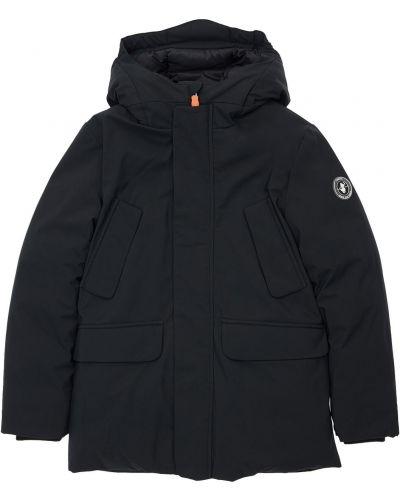Nylon czarny płaszcz z kapturem z łatami Save The Duck