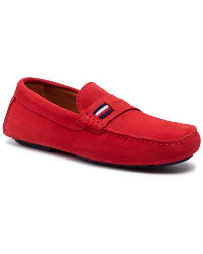 Czerwone mokasyny zamszowe Tommy Hilfiger