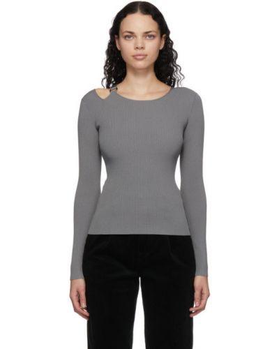 Серый длинный свитер с воротником с длинными рукавами Helmut Lang
