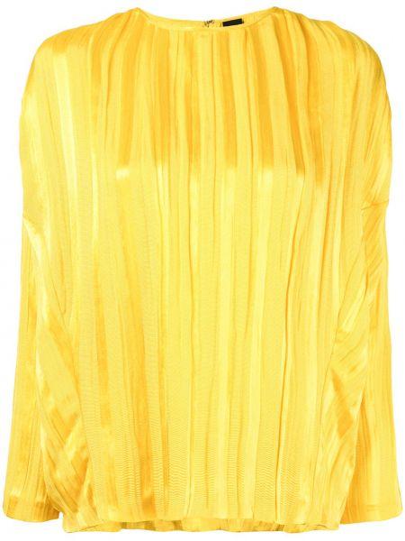 Шелковый желтый топ на пуговицах с круглым вырезом Zero + Maria Cornejo