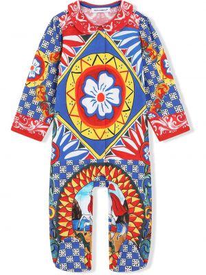 Biały kombinezon z długimi rękawami bawełniany Dolce & Gabbana Kids