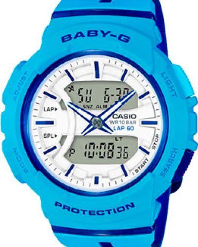 Кварцевые часы водонепроницаемые с подсветкой с круглым циферблатом Casio