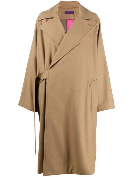 Коричневое шерстяное длинное пальто с воротником Y's