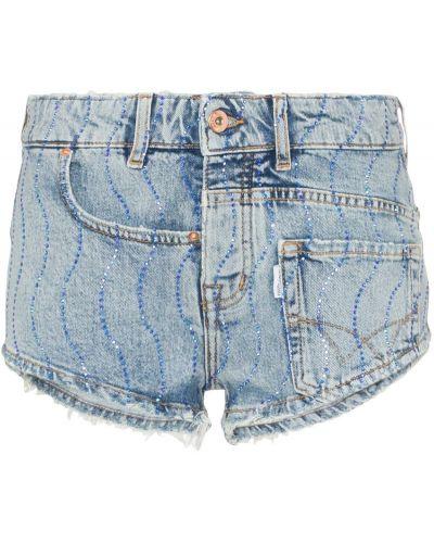 Джинсовые шорты с заниженной талией синий Filles A Papa