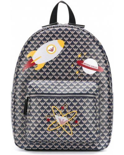 Niebieski plecak skórzany z printem Emporio Armani Kids