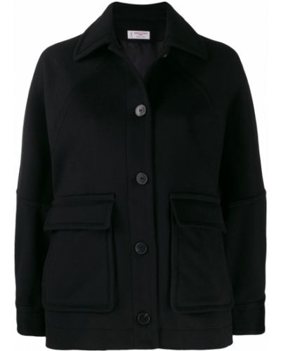 Черная длинная куртка с манжетами Alberto Biani
