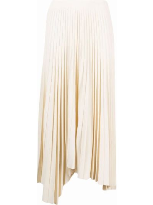 Biała spódnica plisowana z wysokim stanem asymetryczna Mrz