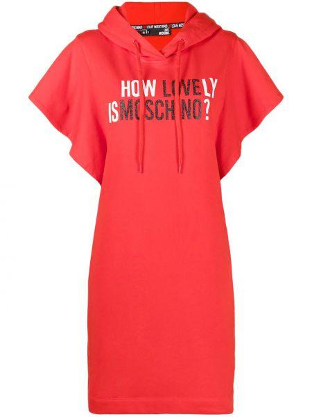 Трикотажное красное платье с капюшоном Love Moschino