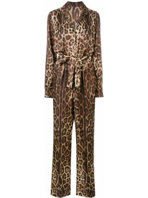 Коричневый классический комбинезон на пуговицах с поясом Dolce & Gabbana
