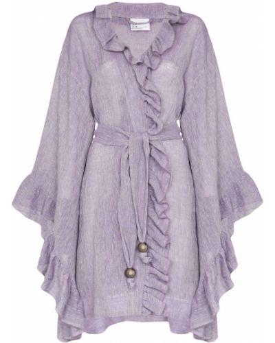 Хлопковая фиолетовая накидка с оборками свободного кроя Lisa Marie Fernandez