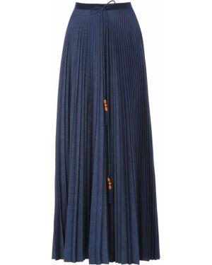 Плиссированная хлопковая синяя юбка макси с поясом Veronique Branquinho