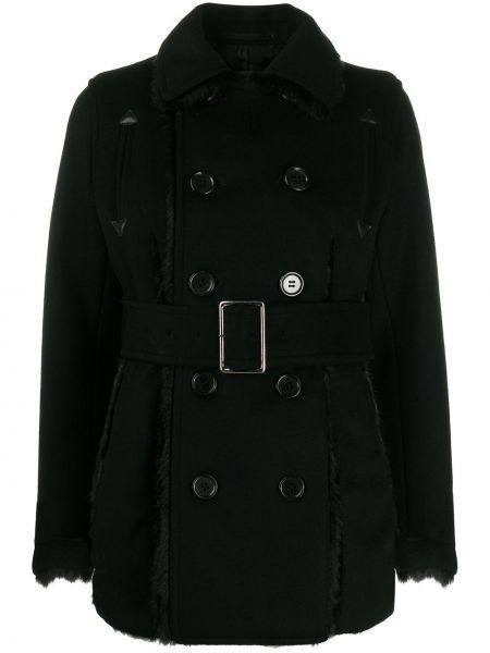 Шерстяное черное длинное пальто с поясом Comme Des Garçons Noir Kei Ninomiya