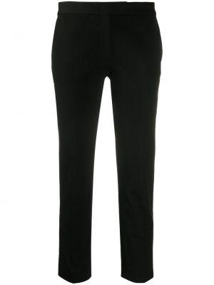 Хлопковые черные укороченные брюки узкого кроя Joseph