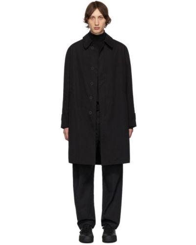 Черное длинное пальто с воротником на молнии с подкладкой Schnaydermans