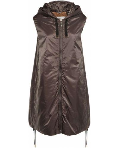 Коричневая жилетка с карманами из верблюжьей шерсти с капюшоном Max Mara