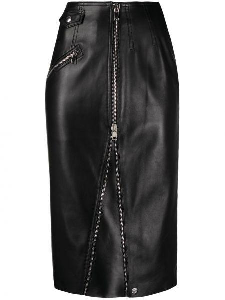 Прямая с завышенной талией кожаная юбка миди Alexander Mcqueen