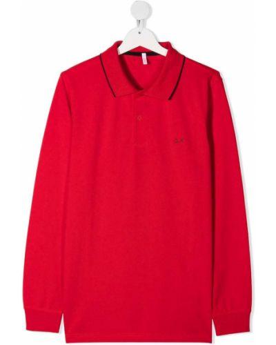 Красная с рукавами рубашка с воротником Sun 68