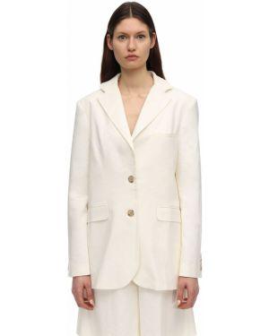Льняной белый пиджак с карманами с лацканами Lesyanebo
